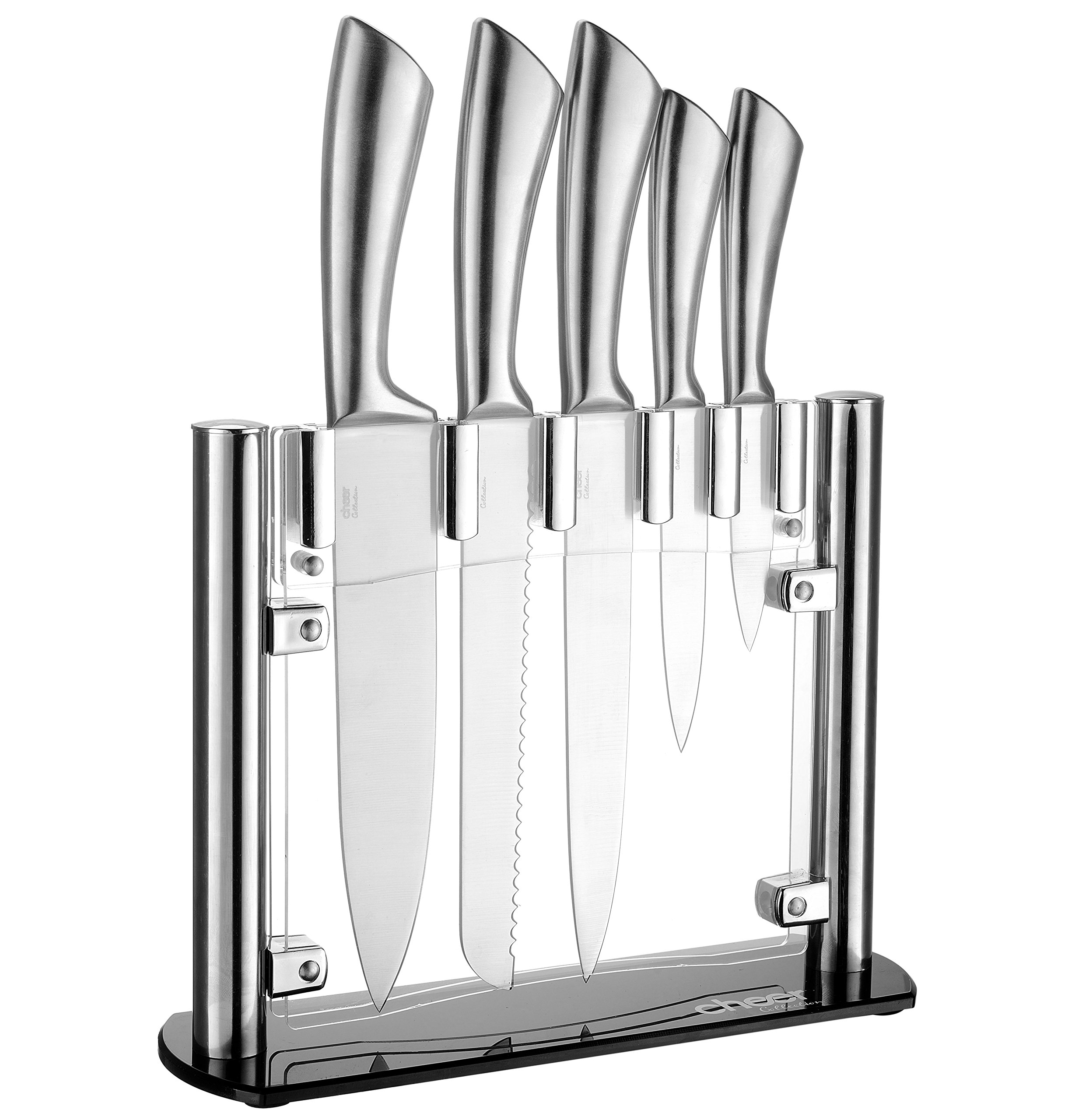 Cheer Collection Stainless Steel Chef Knife Set with Acrylic Stand (6-Piece) Professional Kitchen Utensils | Sharp Serrated and Standard Blades for Mincing, Chopping, Slicing