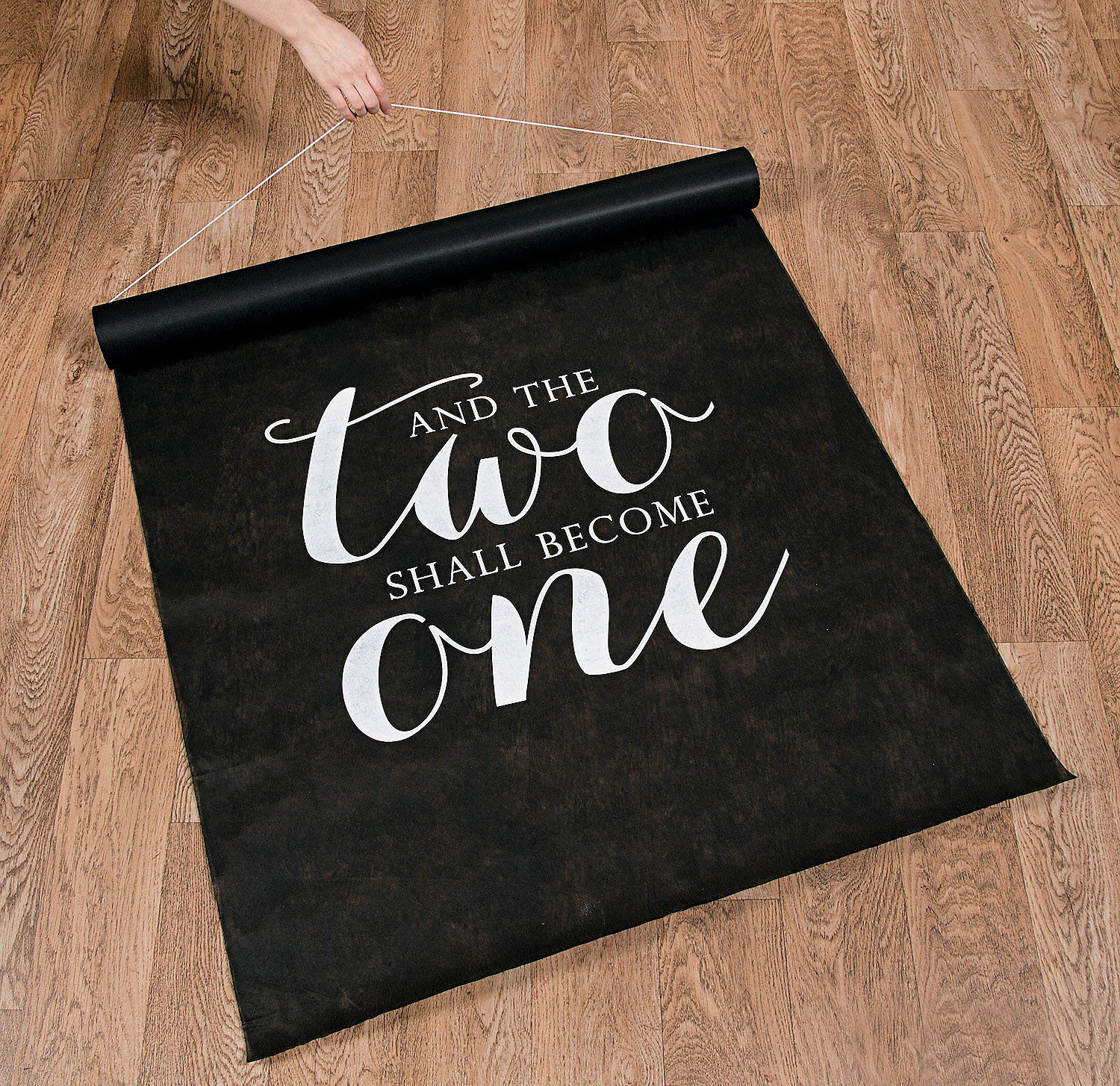 Unbranded 100 FT Black and The Two Shall Become ONE Wedding Aisle Runner Long Bridal