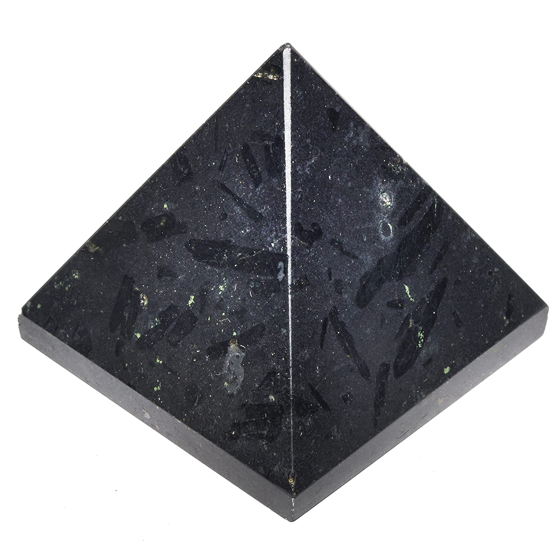 Crocon nero tormalina Pyramid generatore di energia per Reiki guarigione chakra bilanciamento Aura pulizia e EMF protezione Dimensioni: 3, 8cm