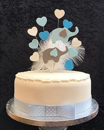 Elefant Baby Dusche Birthday Cake Topper Mit Herzen Und Federn Blau Weiss Plus