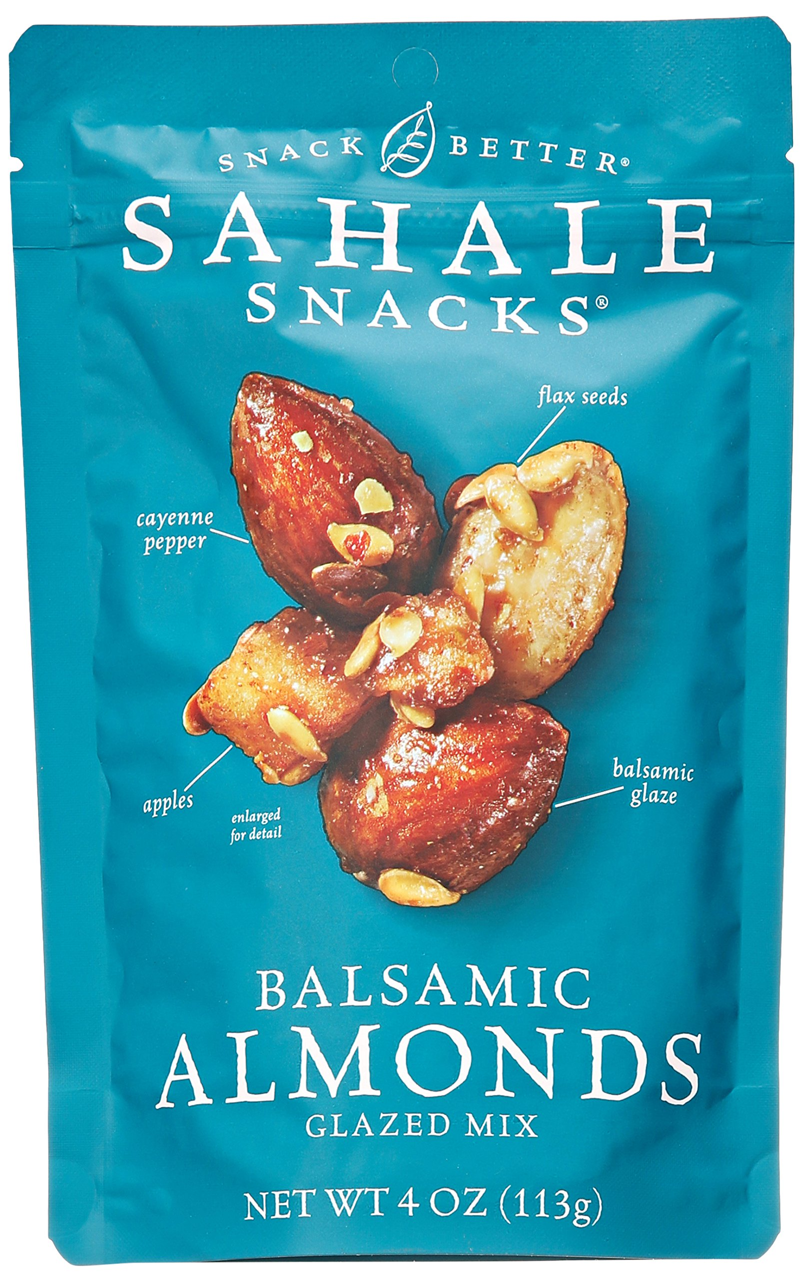 Sahale Snacks Balsamic Almonds Glazed Mix, 4 oz. - Nut Snacks in a Grab 'n Go Pouch, No Artificial Flavors, Preservatives or Colors, Gluten-Free Snacks 1 BETTER EVERYDAY SNACKING - When you're on the go to your next adventure, finding the perfect snack can be difficult. But with Sahale balsamic almonds glazed nuts snacks, you'll always have a delicious and wholesome option to stay energized and satisfied. PERFECT BALANCE - These nut snacks feature the perfect blend of whole dry-roasted almonds, dried apples, flax seeds, a pinch of cayenne pepper and it's all finished with a rich, subtly tart balsamic glaze. RESEALABLE POUCH -  The nut mix snacks are in a resealable pouch that helps keep them fresh, so you can enjoy a delicious nut mix in your home, office and more.