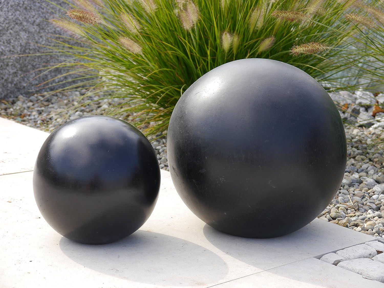 Dekokugel aus Fiberglas in schwarz/ weiß, Deko-Artikel (Ø60x60 cm, Schwarz)