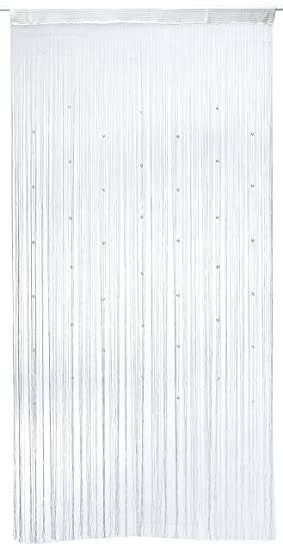 1001 Wohntraum F10 Rideau de fils Blanc brillant avec perles 100 x ...