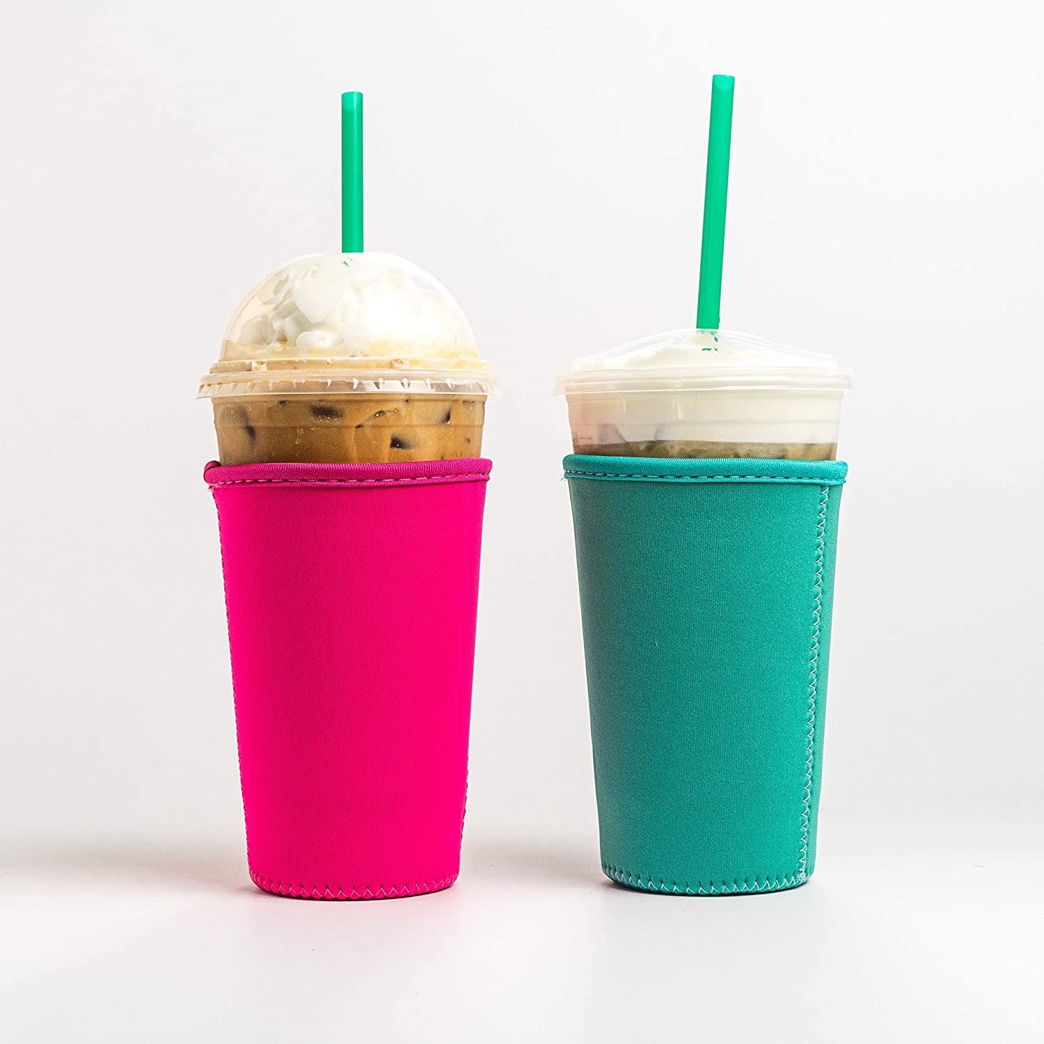 Reusable Insulated Neoprene Iced Coffee Beverage Sleeves | Cold Drink Cup Holder for Starbucks Coffee, McDonalds, Dunkin Donuts, Tim Hortons and More | (Turquoise & Pink, 2 PK Medium 22-24oz)