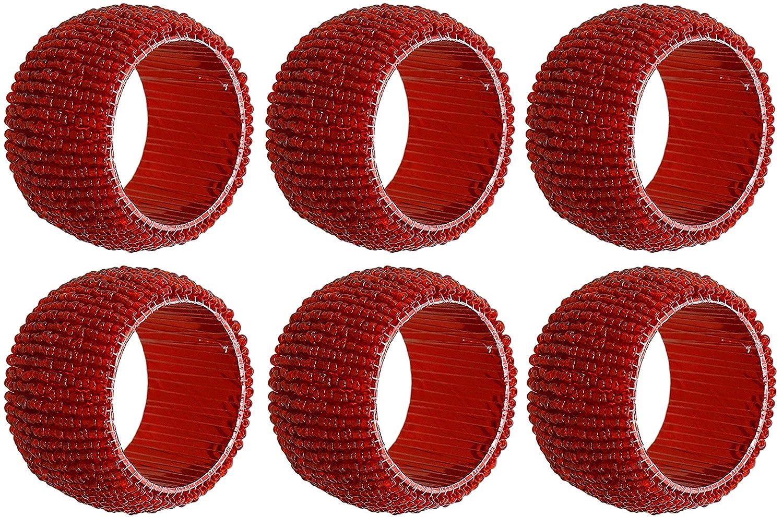 set di 6 - portatovaglioli pacco rosso - scavano fuori portatovaglioli rotondi per cena di vacanza festa di nozze - dia 6, 4 cm SKAVIJ m-NRB11