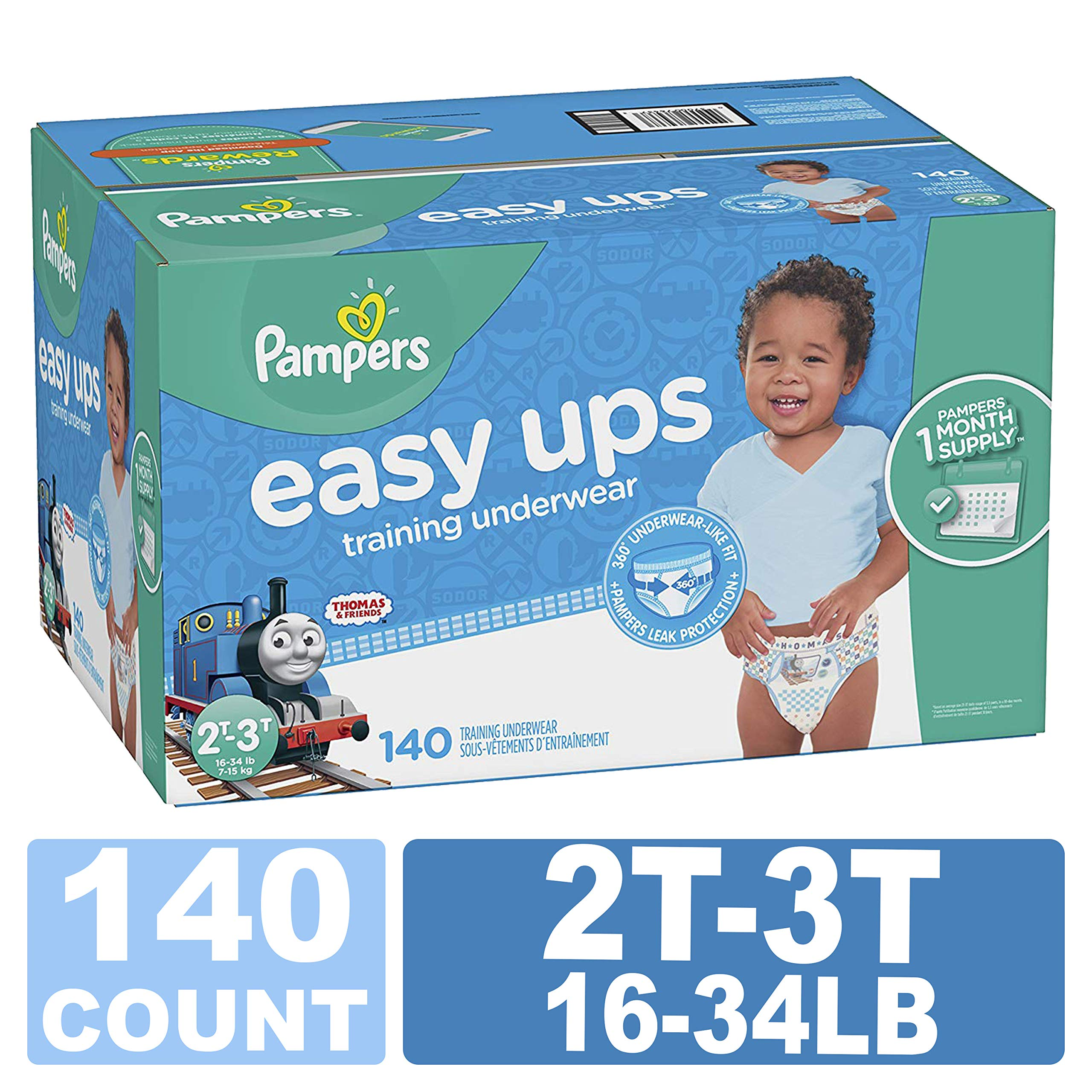 Pampers Easy Ups Training Pants Pull On Disposable Diapers for Boys, Size 4 (2T-3T), 140 Count, ONE Month Supply
