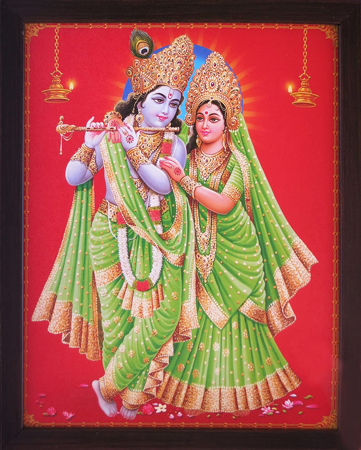 a Decorative Religious Poster with Frame 202-65 Handicraft Store Radha Krishna Standing Wearing Tradition Green Dress