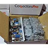 Pc Accessories - Connectors Pro 10 Sets Solder Cup DB9 Female + Plastic Hoods, 9 Pins D-Sub Connector & Hood Set, 20-Pack (10 DB9 Females + 10 Hoods)