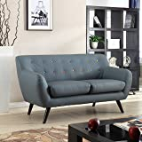 Mid Century Modern Tufted Bonded Leather Loveseat in Color Grey, Black (Grey Multi-Color Buttons)