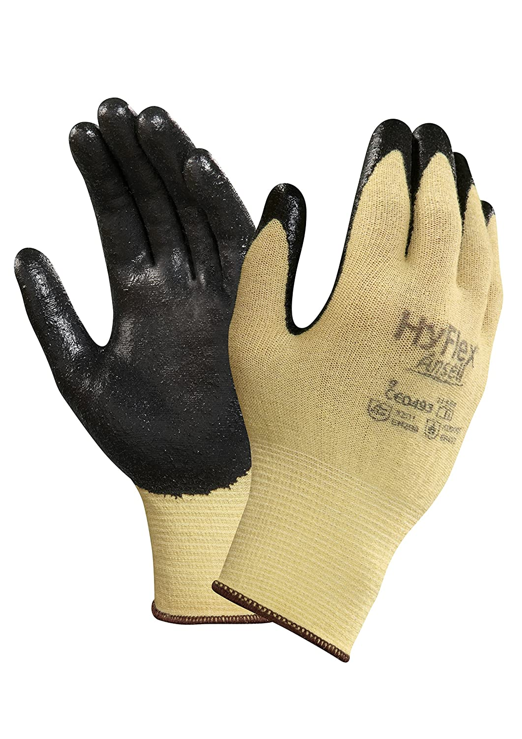 Ansell 103325 HyFlex 11-500 Black Foam Nitrile Palm Coated Kevlar Gloves, 0.38