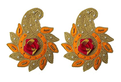 Lavish 3d patch applique with aari work in multi color selection
