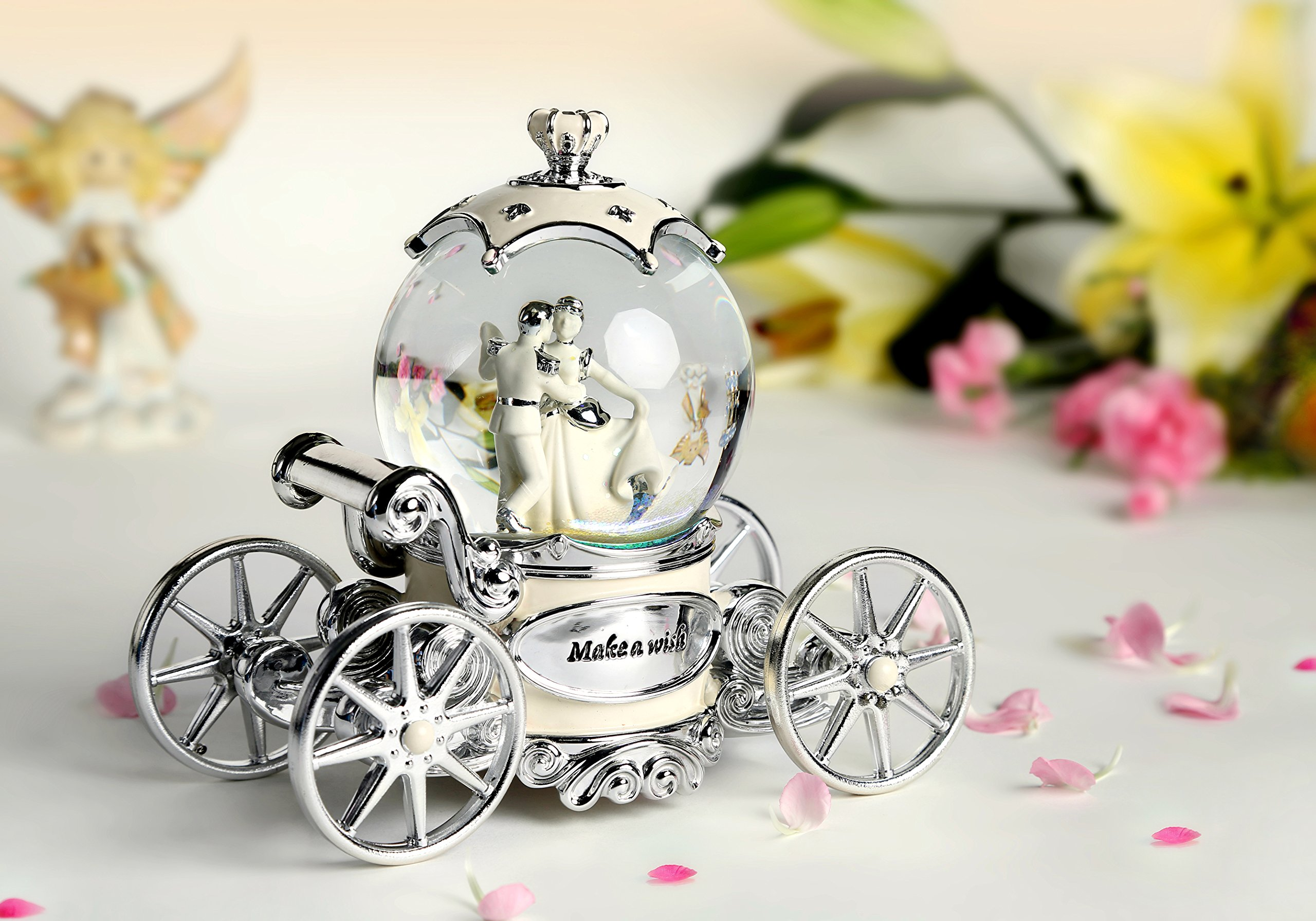 Water Globe Crystal Ball Wind Up Led with Music of Wedding March,Bride and Groom White Music Box by Bts (Image #4)