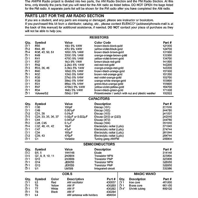 Buy Elenco AM/FM IC And Transistor Radio Combo Kit Online at