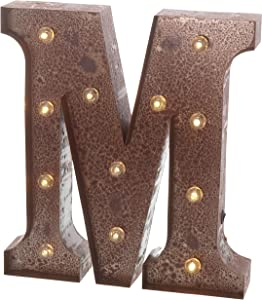 """Barnyard Designs Metal Marquee Letter M Light Up Wall Initial Wedding, Home and Bar Decoration 12"""" (Rust)"""