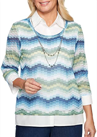 2898c8a64710 Alfred Dunner Womens Greenwich Hills Necklace   Chevron Top at Amazon Women s  Clothing store
