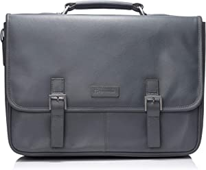 "Alpine Swiss Genuine Leather 15.6"" Laptop Briefcase Flap Over Messenger Bag GRY"