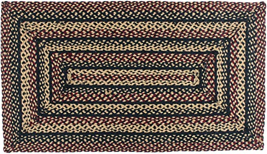 IHF India Country Primitive Braided Rectangle Jute Rug Ebony Black /& Tan