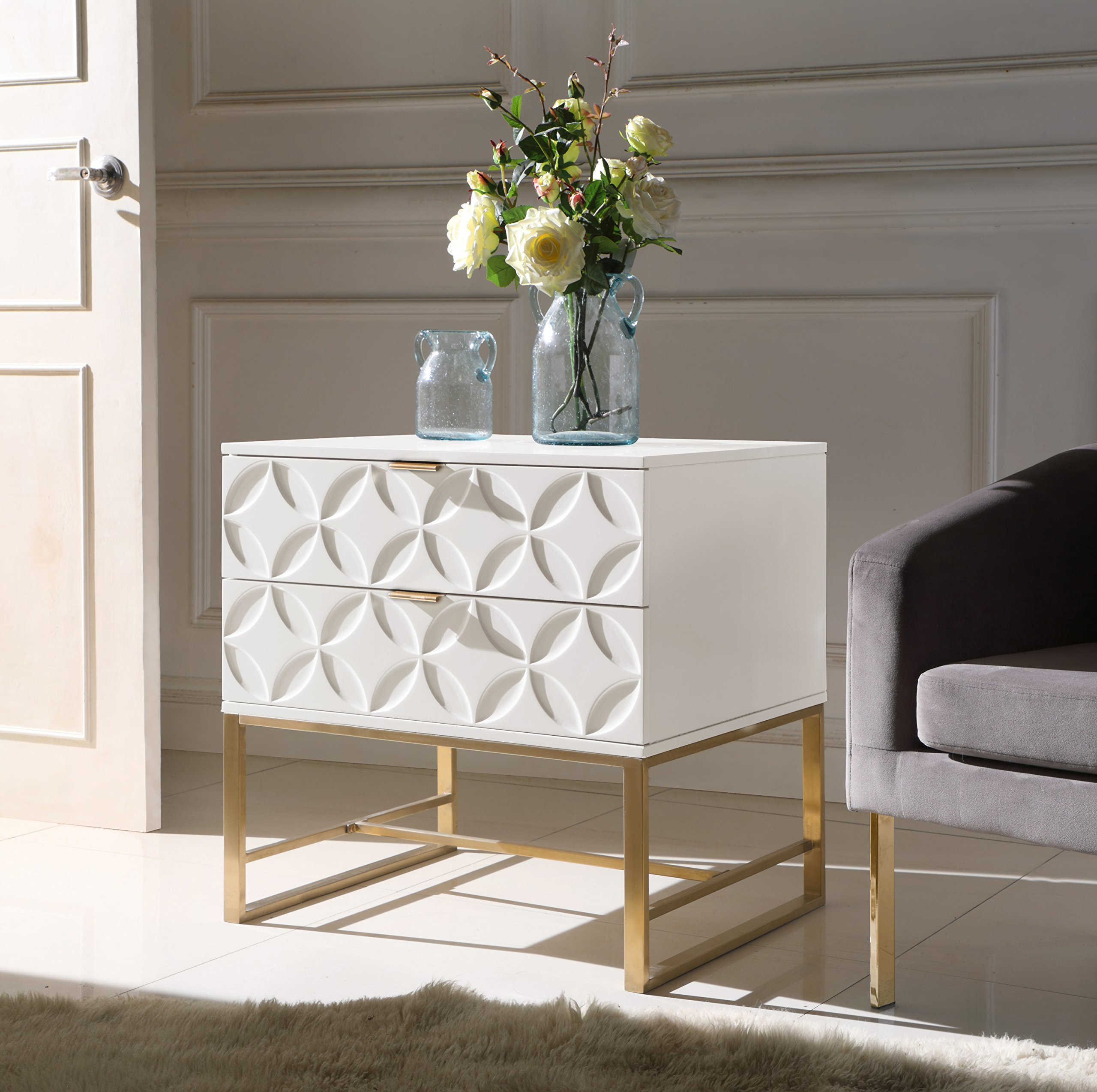 Iconic Home Jenica Nightstand Side Table with 2 Self Closing Lacquer Drawers Brass Finished Stainless Steel Frame Base, Modern Contemporary, White by Iconic Home