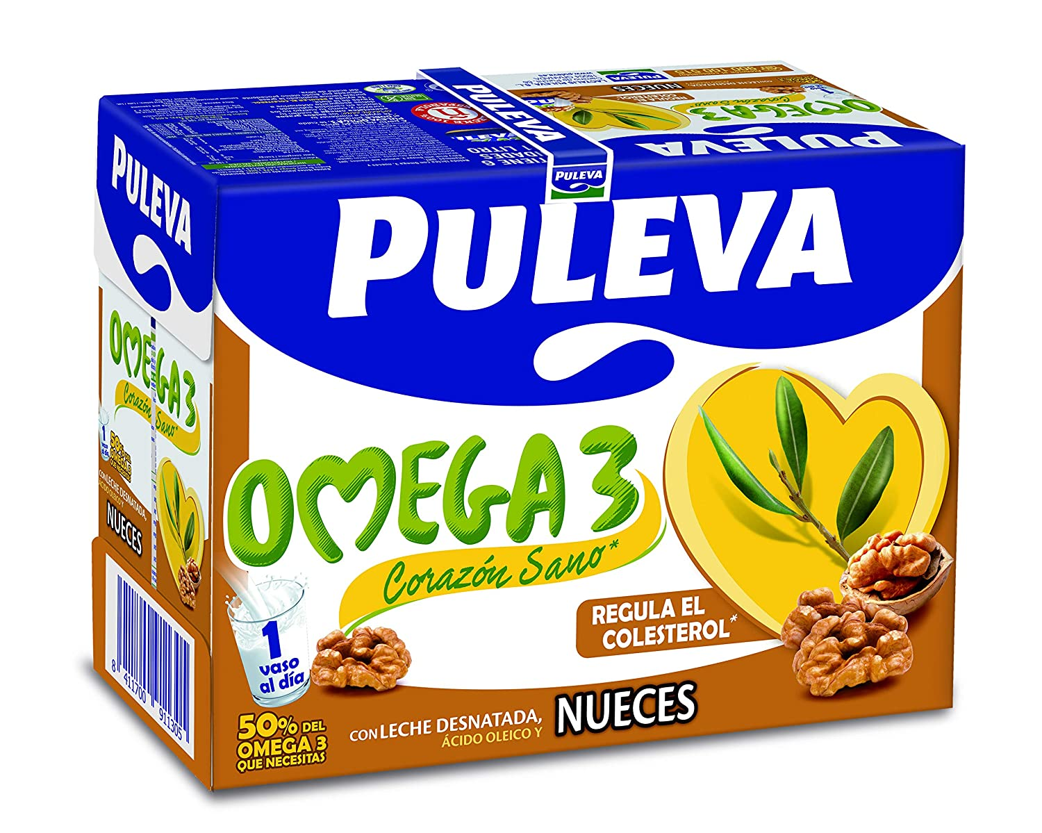 Puleva Leche Omega 3 con Nueces - Pack de 6 x 1 l - Total: 6 l: Amazon.es: Amazon Pantry