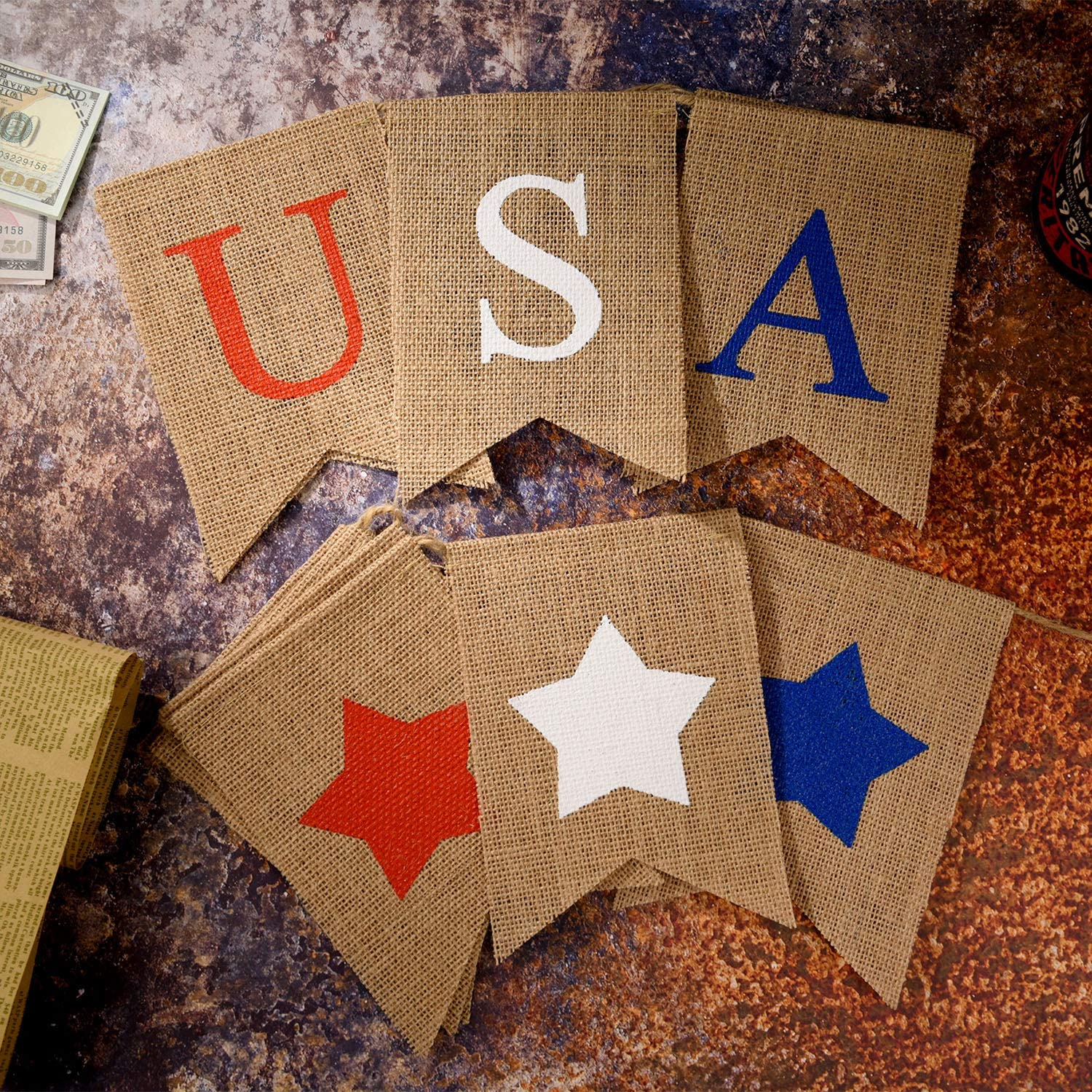 Color Set 1 Tatuo 2 Pieces American Burlap Banner Independence Day Decoration USA Patriotic Banner White and Blue Stars Banner for 4th of July Decor