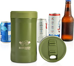 Beer Buddy Insulated Can Holder – Vacuum-Sealed Stainless Steel – Beer Bottle Insulator for Cold Beverages – Thermos Beer Cooler Suited for Any Size Drink - One Size Fits All (Matte Green)