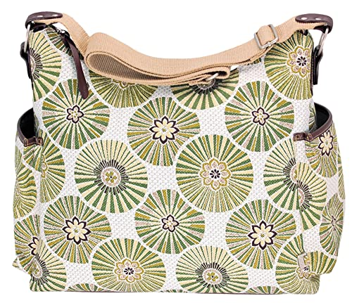 OiOi Baby Floral Disc Hobo Diaper Bag, Green (Discontinued by Manufacturer)