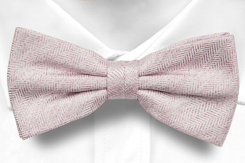 Self tie bow tie - Light pink with tonal herringbone pattern Notch ufUy5VCK