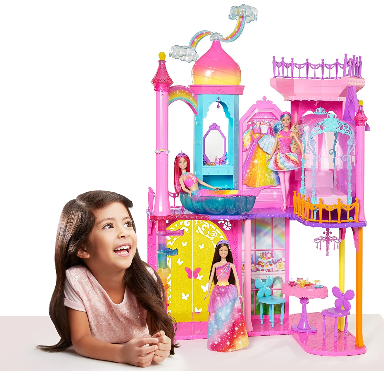 amazon com barbie rainbow cove castle playset toys u0026 games