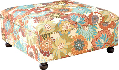 Madison Park Carlyle Coffee Table-Solid Wood Square Large Accent Cocktail Ottoman Modern Style Vibrant Spring Design