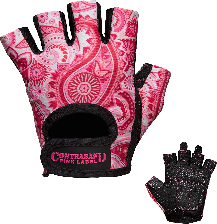 Contraband Pink Label 5387 Womens Design Series Paisley Print Lifting Gloves Pair Lightweight Vegan Medium Padded Microfiber Amara Leather w//Griplock Silicone