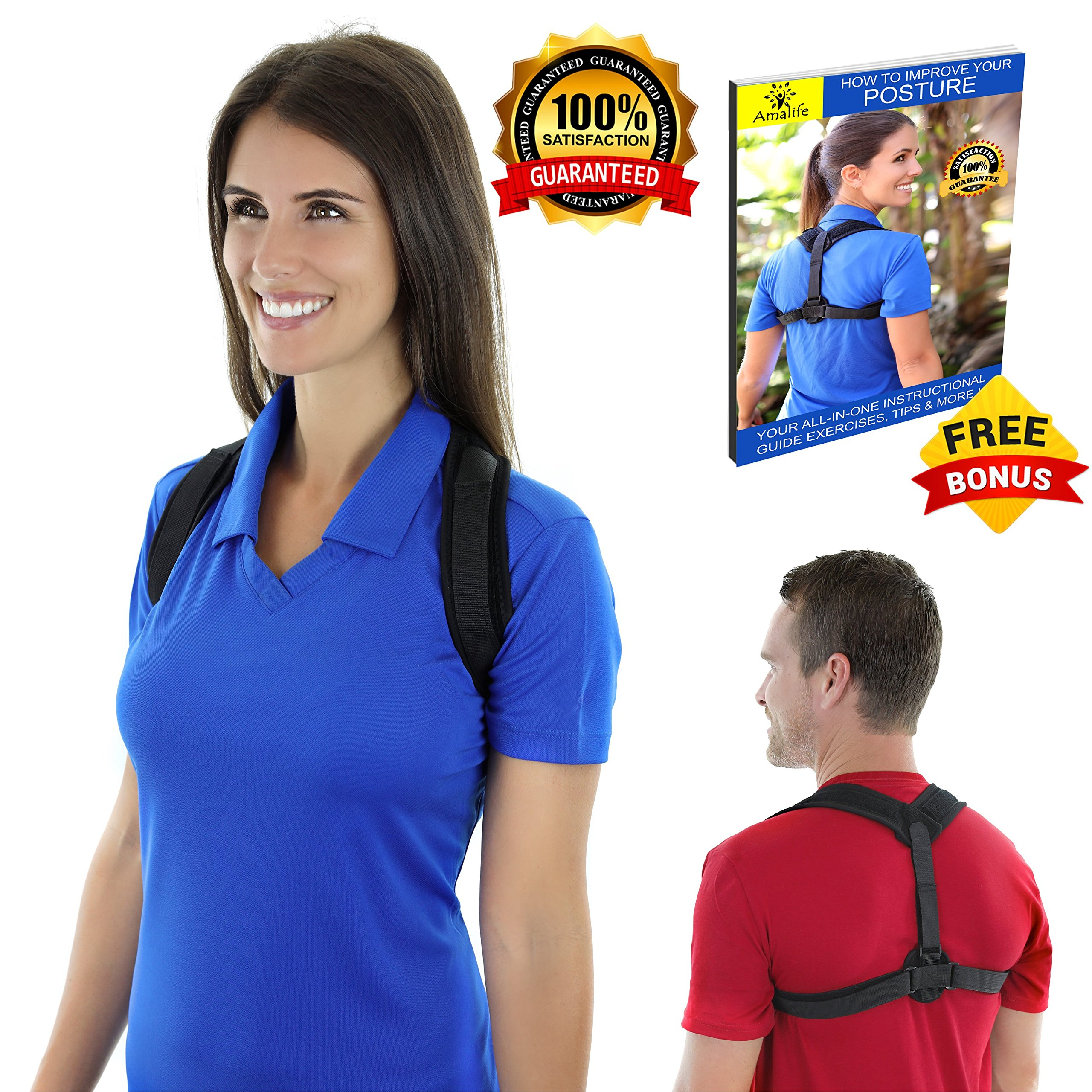 Posture Corrector for Women Men Kids - Comfortable and Effective Posture Brace for Upper Back pain, Slouching, Hunching -Posture Support For Medical Problems & Injury Rehab by Amalife