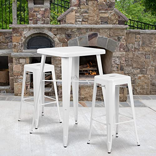 Flash Furniture 4 Pack Commercial Grade 30″ High Backless White Metal Indoor-Outdoor Barstool