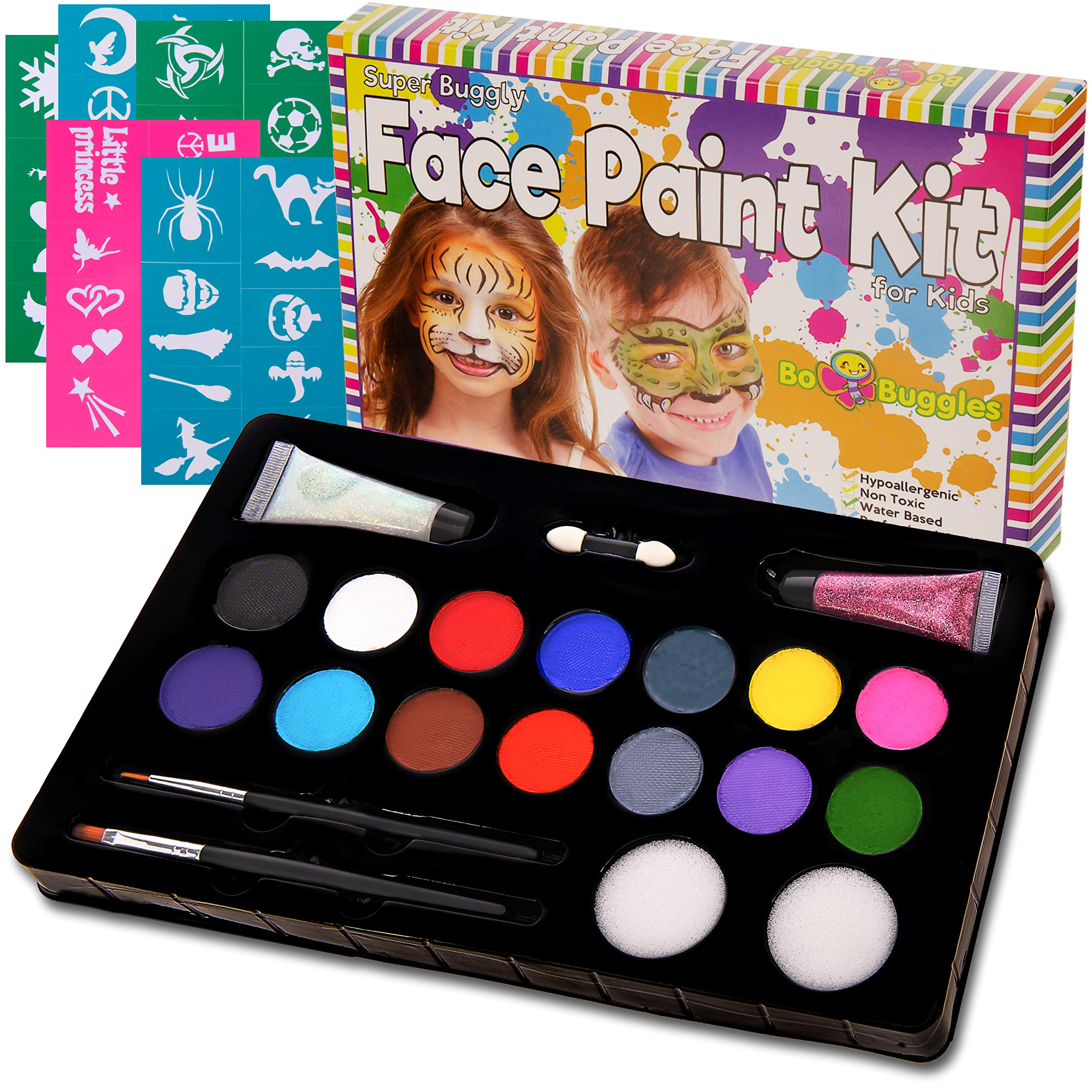 Bo Buggles Kids Face Paint Kit + 50 Stencils.''Super Buggly Kit'' with 14 Paints; 2 Glitter Gels; Large 4 gram Professional Paints; 2 Brushes; 2 Sponges. Pro-Quality Non-Toxic Face Painting Palette