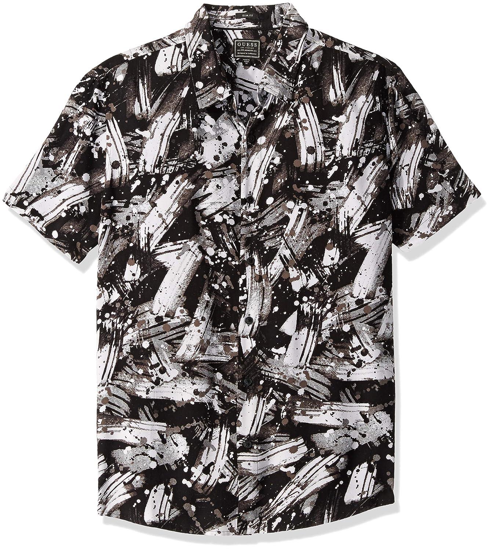 Brush Stroke Print Black GUESS Mens Short Sleeve Brush Stroke Print Shirt T-Shirt