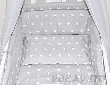 Parure avec tour de lit pour berceau/couffin 100 % coton 6 pièces ...
