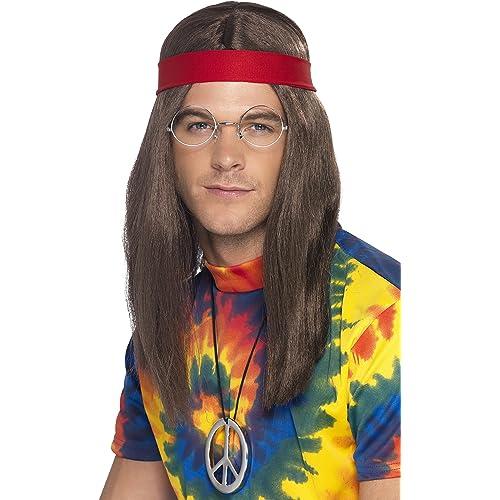 Smiffys Kit de hombre hippy, Marrón, Peluca, gafas, medallón con el símbolo