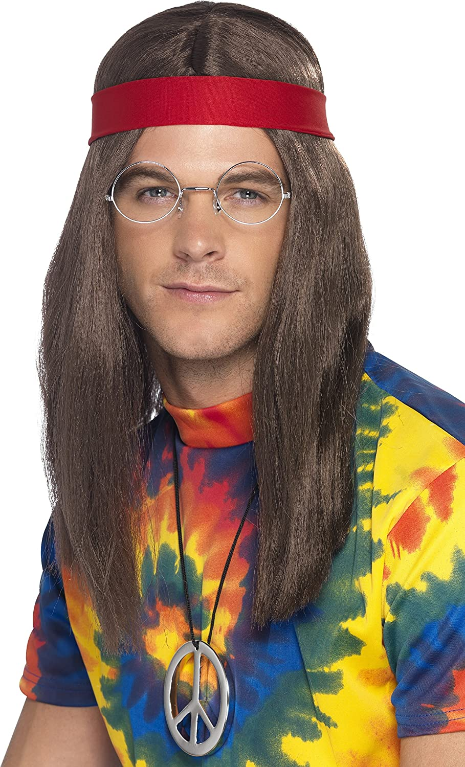 Amazoncom Smiffys Mens Hippie Man Kit Wig Glasses Peace Sign