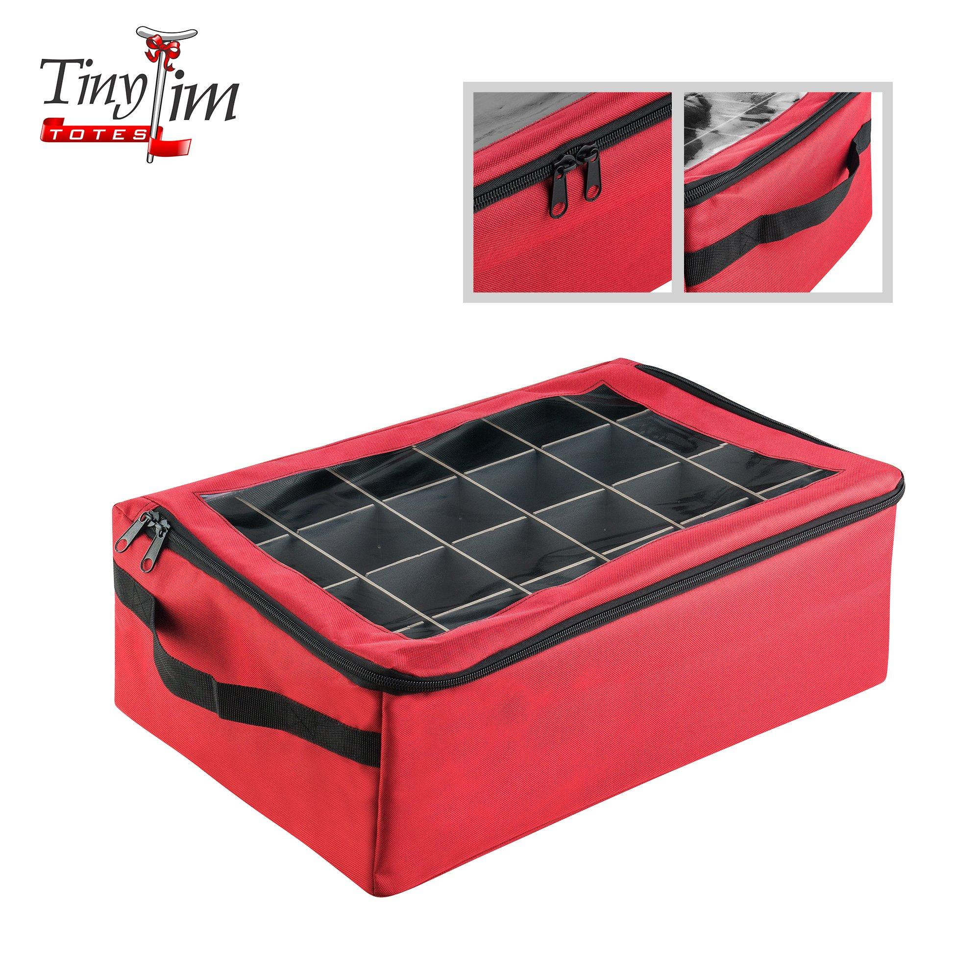 Tiny Tim Totes 83-DT5574 Premium | 48 Christmas Ornament Organizer Storage Box, Red