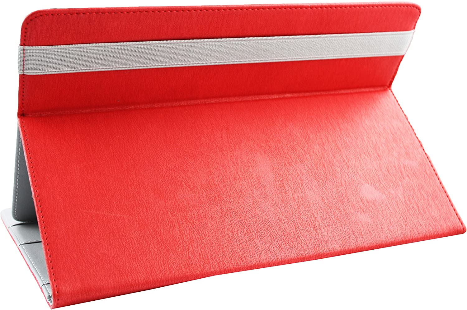 Red Premium PU Leather Multi Angle Executive Folio Wallet Case Cover Grey Interior With Card Slots Emartbuy/® Vodafone Tab Prime 6 Tablet 9.6 Inch Universal 9-10 Inch Red Stylus