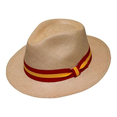 Borges   Scott Teardrop Fedora Panama Hat - Beige Straw with Red and Yellow  Band - cb3ec8333fdb