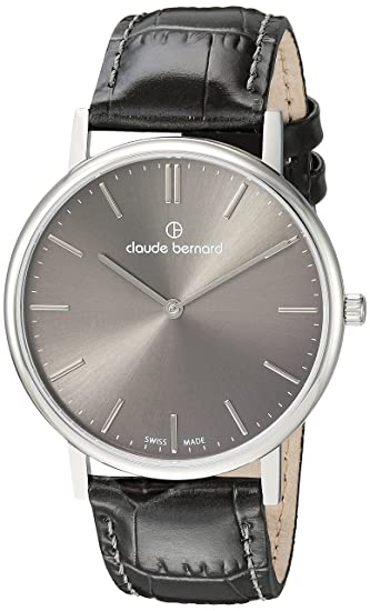 Amazon.com: Claude Bernard Mens Slim Line Stainless Steel Swiss-Quartz Watch with Leather Strap, Black, 20 (Model: 20214 3 Gin: Watches