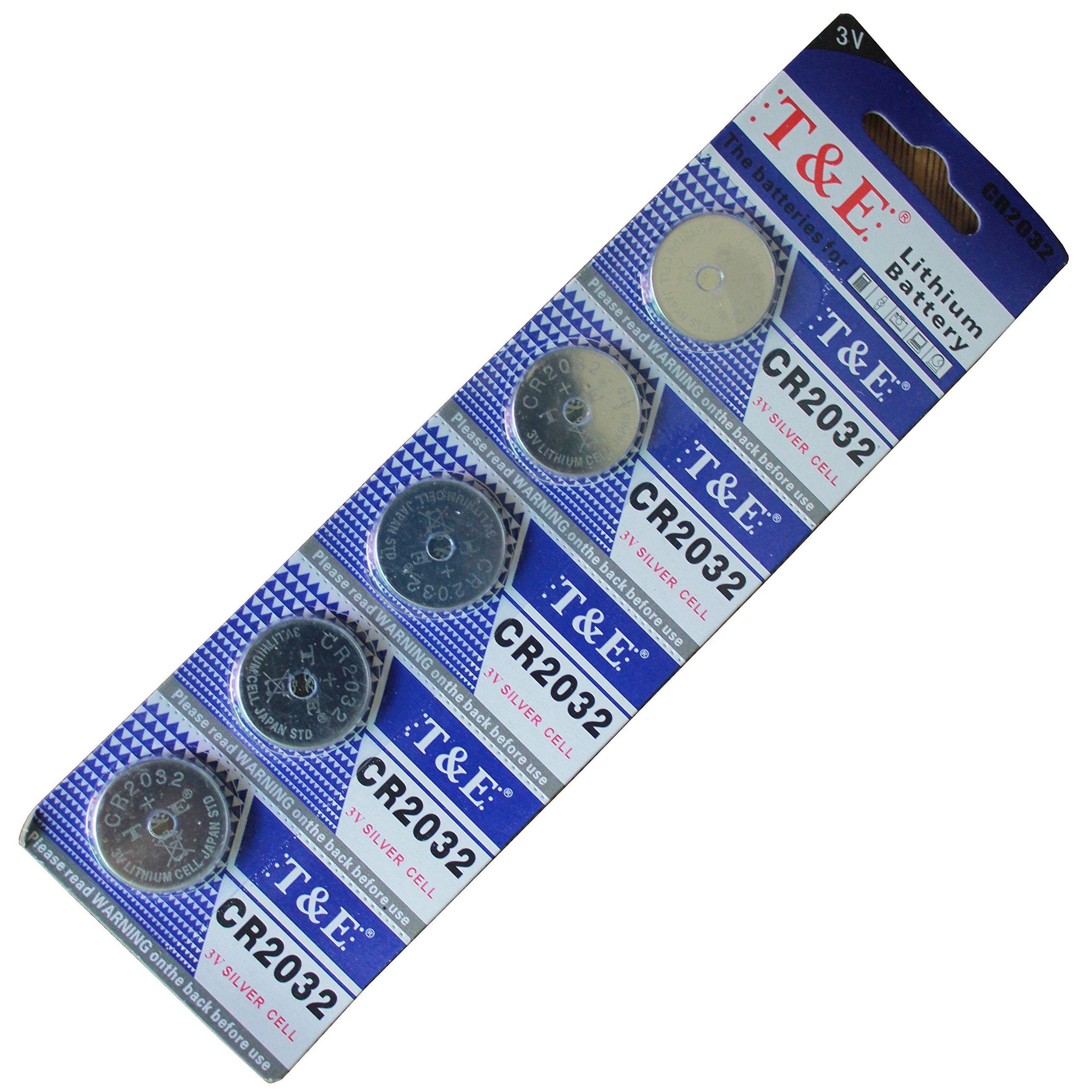 New T&E 5 X Cr2032 Br2032 2032 3V Lithium Batteries