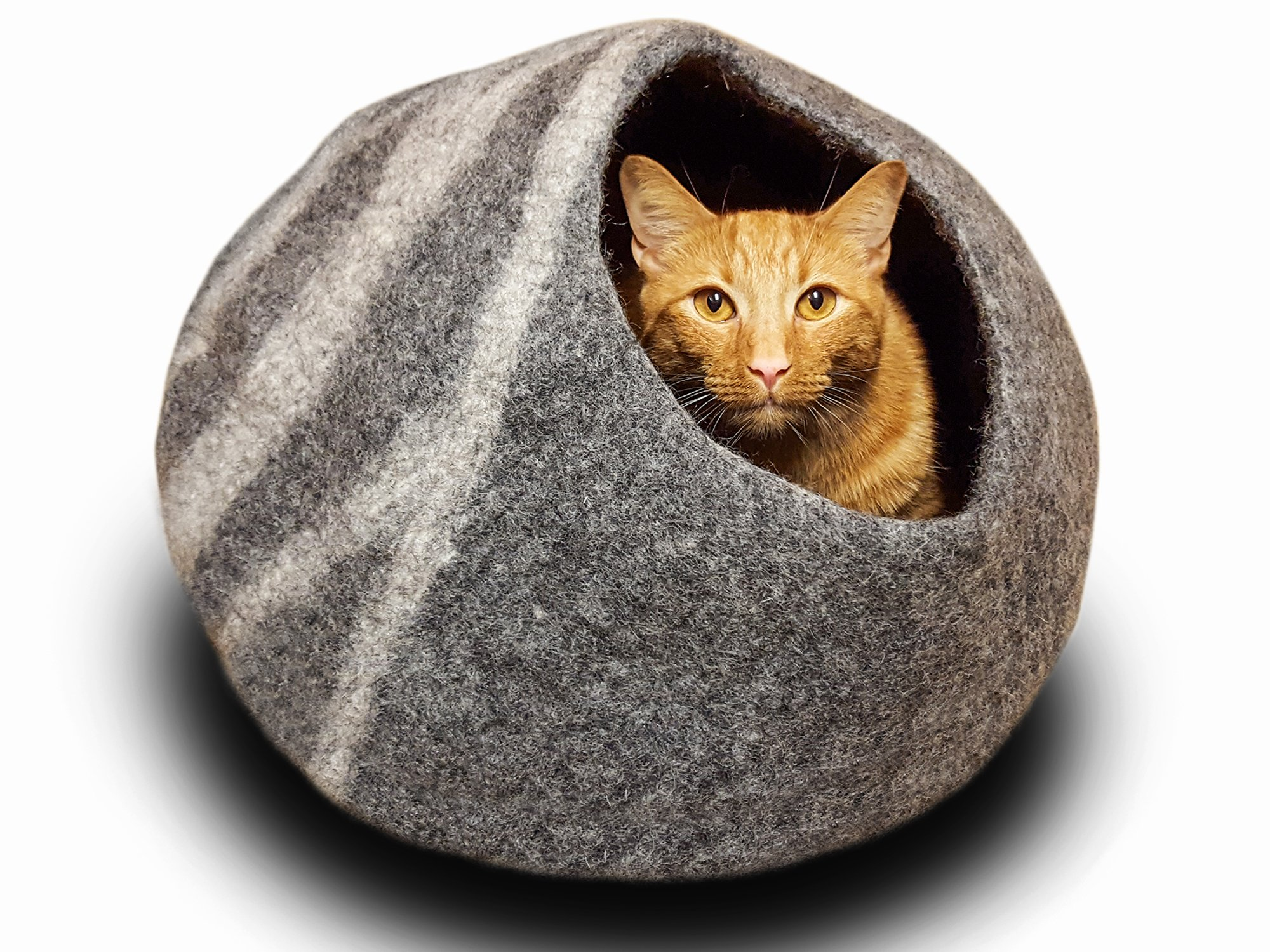 MEOWFIA Premium Felt Cat Cave Bed (Large) - Eco-Friendly 100% Merino Wool Cat Bed - Handmade - Soft and Comfy Beds for Large Cats and Kittens(Dark Grey) by MEOWFIA (Image #2)