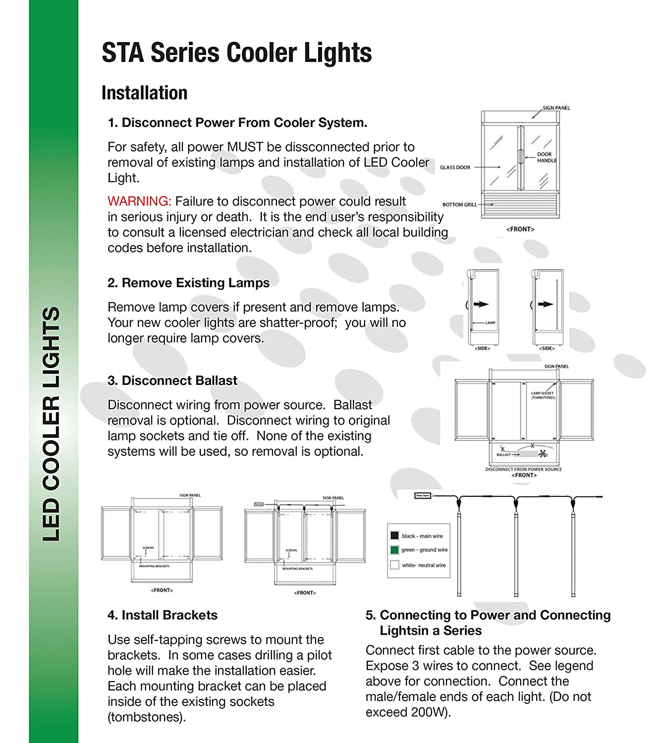 LED Cooler Door light, Double-strip V shape (100-277VAC) Built-in ...