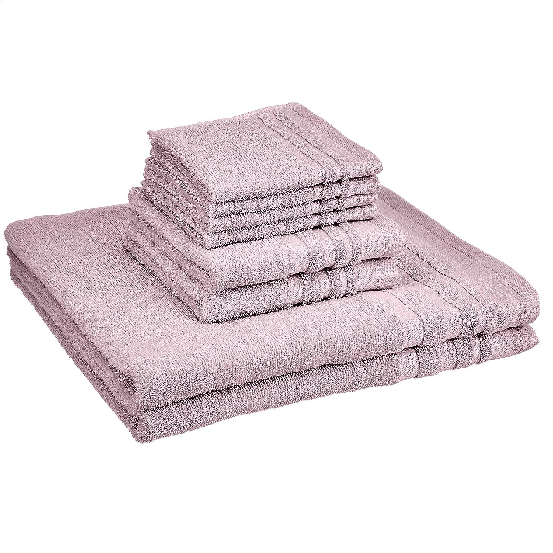 AmazonBasics Cosmetic Friendly Towel Set - 8-Piece Set, Lavender Bloom