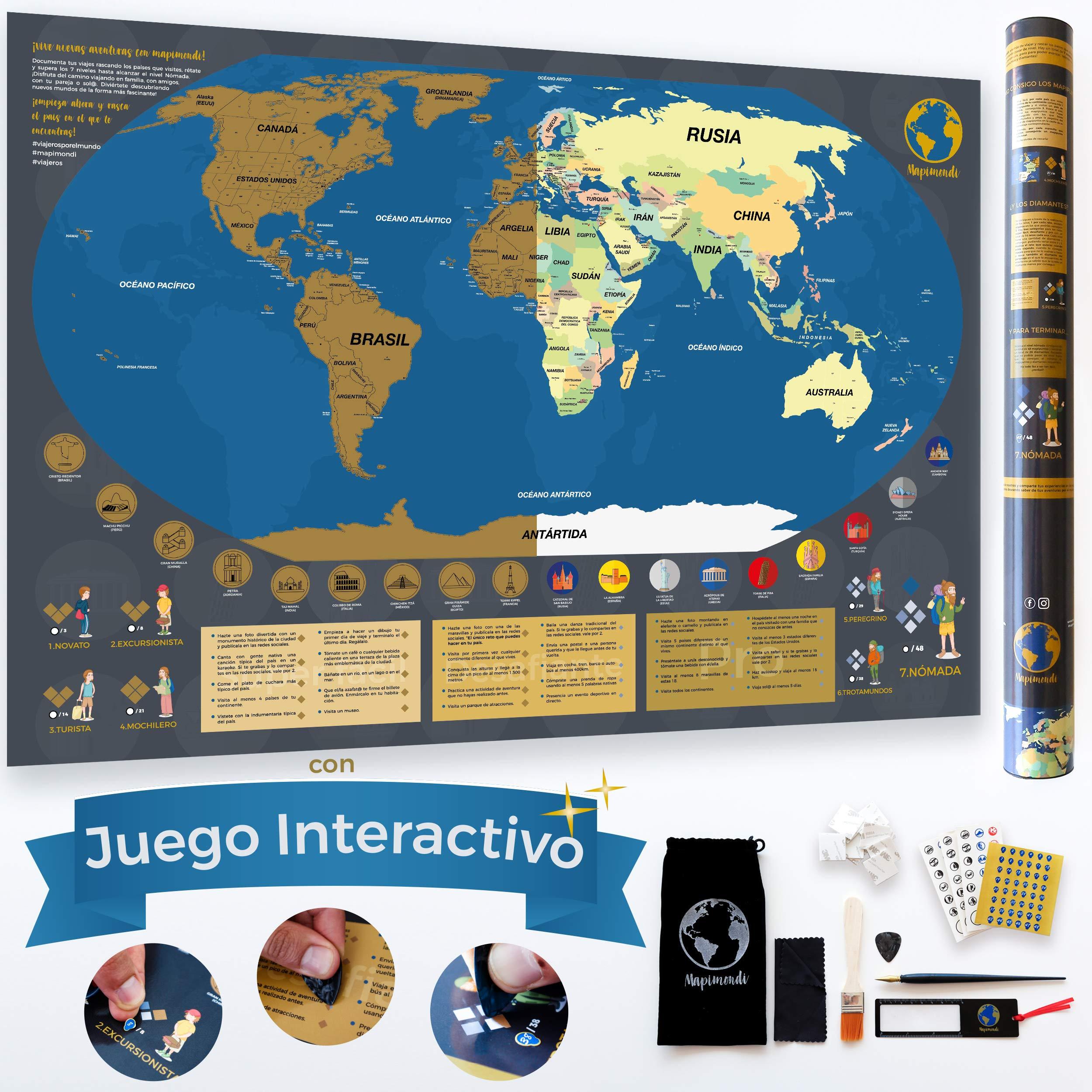 Mapa Mundi Rascar en Español de 84 x 58cm con Juego Interactivo de Puntos y Retos