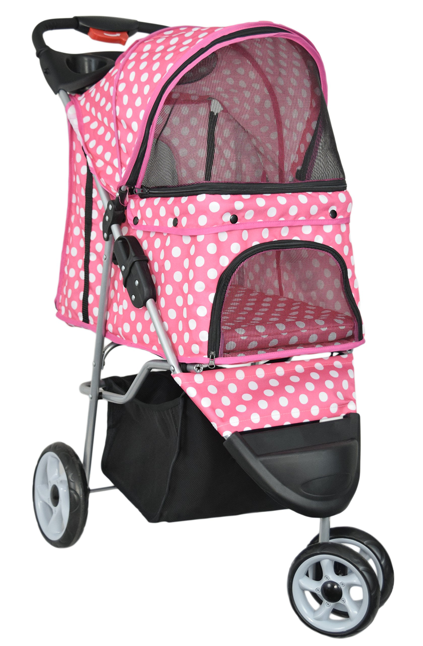 VIVO Three Wheel Pet Stroller, for Cat, Dog and More, Foldable Carrier Strolling Cart, Multiple Colors (Pink & White Polka Dot) by VIVO (Image #1)