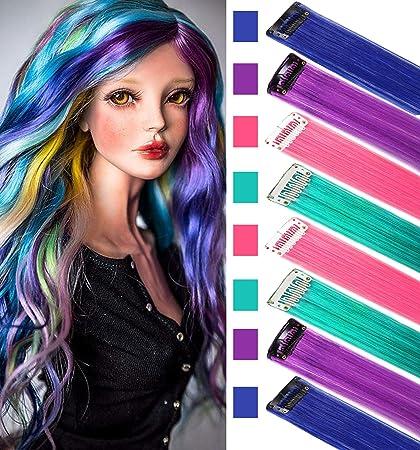 Rhyme Peluca postizos para niños Extensiones de cabello de colores Clip in/on para niñas y muñecas hiar Accessories Wig Pieces 8 piezas (Rosa púrpura ...