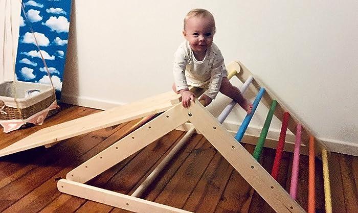 scala rampicante per bambino triangolo per bambini Triangolo pikler Puoi scegliere senza o con una o due rampe nelle opzioni triangolo a gradini