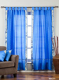 Indian Selections Blue Tab Top Sheer Sari Curtain/Drape/Panel – Set 43 X 120 Inches (109 X 304 CMS) Blue: Matching Lining